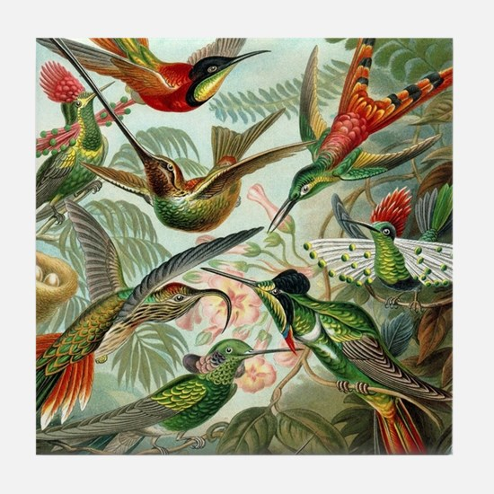 Vintage Hummingbirds Decorative Tile Coaster