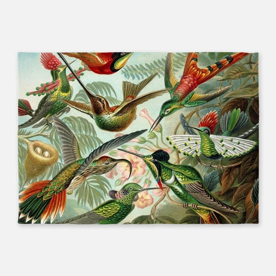Vintage Hummingbirds Decorative 5'x7'Area Rug