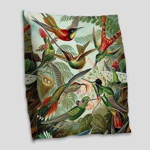 Vintage Hummingbirds Decorativ Burlap Throw Pillow
