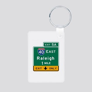 Raleigh, NC Road Sign, USA Aluminum Photo Keychain
