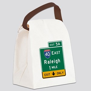 Raleigh, NC Road Sign, USA Canvas Lunch Bag