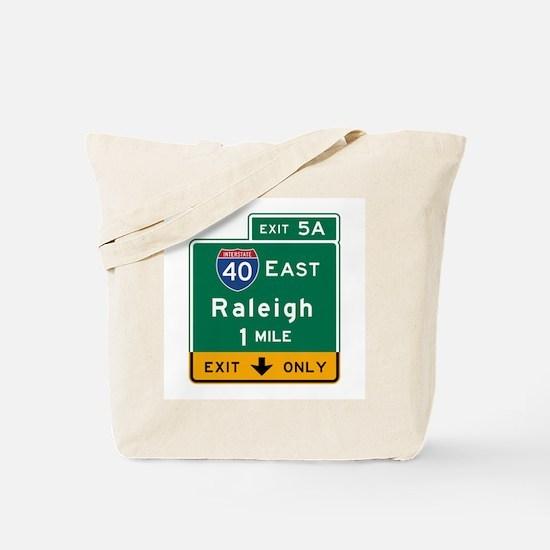 Raleigh, NC Road Sign, USA Tote Bag