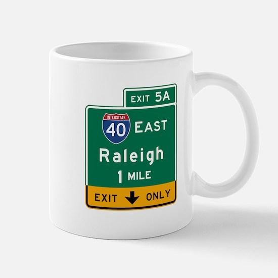 Raleigh, NC Road Sign, USA Mug