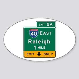 Raleigh, NC Road Sign, USA Sticker (Oval)