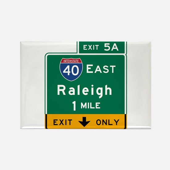 Raleigh, NC Road Sign, USA Rectangle Magnet