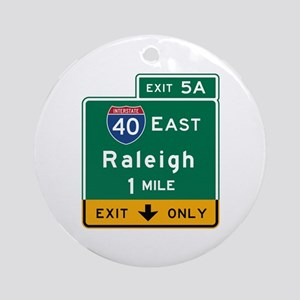 Raleigh, NC Road Sign, USA Round Ornament