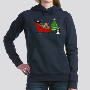 6 Kitty Cat, Sleigh Christmas Tree - Sweatshirt