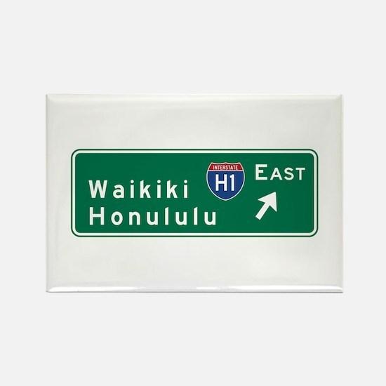 Waikiki-Honolulu, HI Road Sign, U Rectangle Magnet