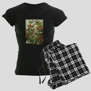 Vintage Hummingbirds Decorat Women's Dark Pajamas