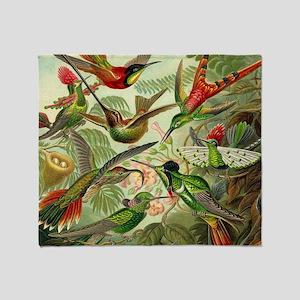 Vintage Hummingbirds Decorative Throw Blanket