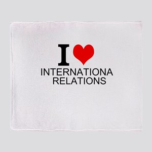 I Love International Relations Throw Blanket