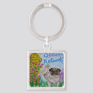 Social Networking Pug Keychains