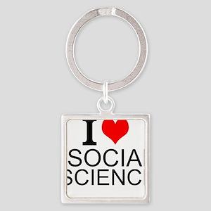 I Love Social Sciences Keychains