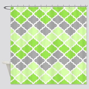 Lime Green And Gray Shower Curtains