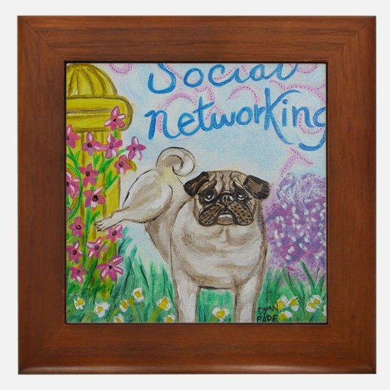 Social Networking Pug Framed Tile