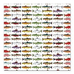 14 Trout and Salmon Pattern cp Square Car Magnet 3
