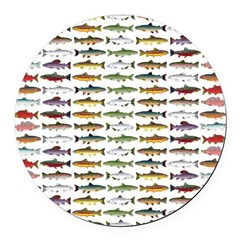 14 Trout and Salmon Pattern cp Round Car Magnet
