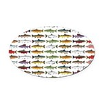 14 Trout and Salmon Pattern cp Oval Car Magnet