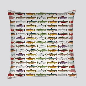 14 Trout and Salmon Pattern cp Everyday Pillow