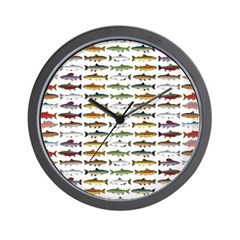 14 Trout and Salmon Pattern cp Wall Clock