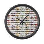 14 Trout and Salmon Pattern cp Large Wall Clock