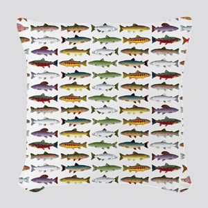 14 Trout and Salmon Pattern cp Woven Throw Pillow