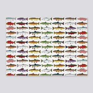 14 Trout and Salmon Pattern cp 5'x7'Area Rug
