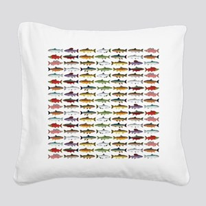 14 Trout and Salmon Pattern cp Square Canvas Pillo