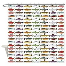 14 Trout and Salmon Pattern cp Shower Curtain