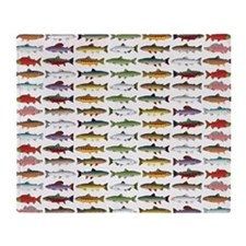 14 Trout and Salmon Pattern cp Throw Blanket