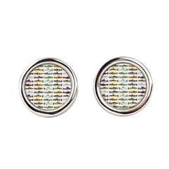 14 Trout and Salmon Pattern cp Round Cufflinks