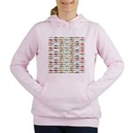 14 Trout and Salmon Pattern cp Women's Hooded Swea