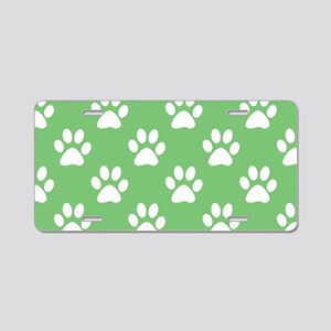 Green and white paws patter Aluminum License Plate