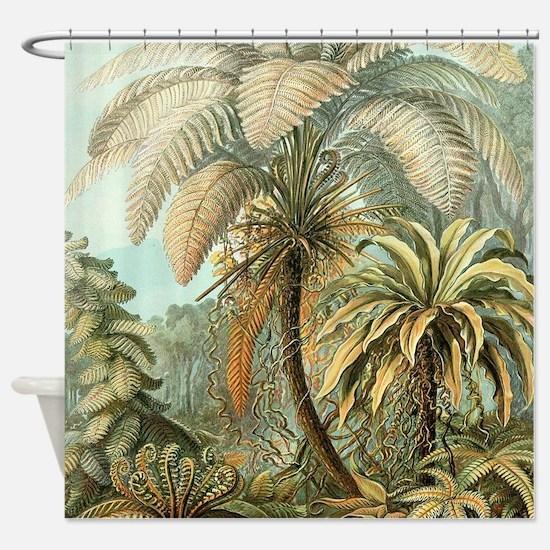 Vintage Tropical Palm Shower Curtain