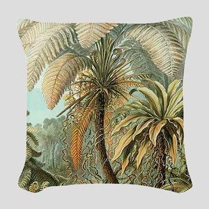 Vintage Tropical Palm Woven Throw Pillow