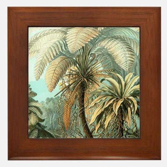 Vintage Tropical Palm Framed Tile