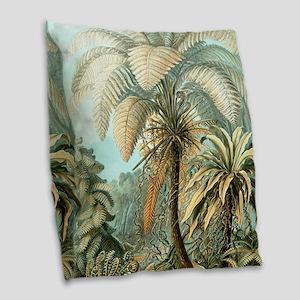 Vintage Tropical Palm Burlap Throw Pillow