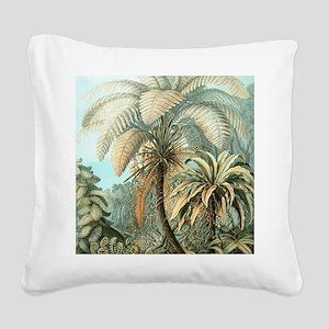 Vintage Tropical Palm Square Canvas Pillow