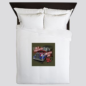 Old Truckers Never Die Queen Duvet