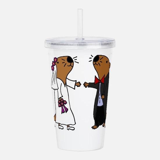 Funny Otter Wedding Acrylic Double-wall Tumbler