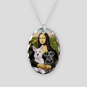 Mona-2 Schnauzers Necklace Oval Charm