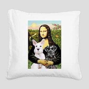 Mona-2 Schnauzers Square Canvas Pillow