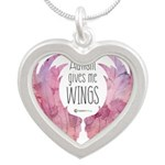 Autism Wings (WC) Silver Heart Necklace