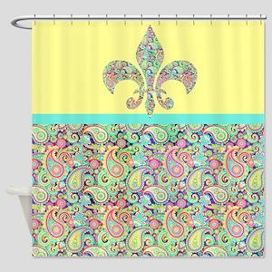 Spring Paisley Fleur De Lis Shower Curtain