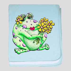 Flower Frog baby blanket