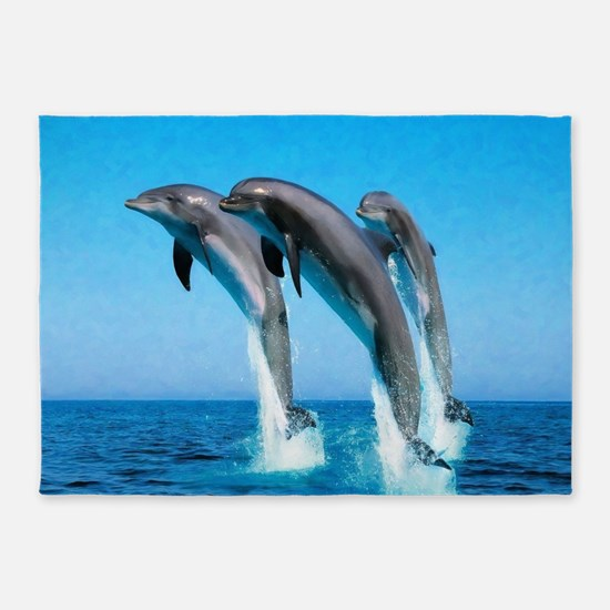 3 Dolphins 5'x7'Area Rug