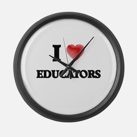 I love Educators Large Wall Clock