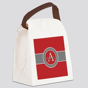 Red Gray Monogram Personalized Canvas Lunch Bag