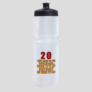 20 birthday Designs Sports Bottle