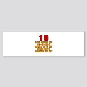 19 birthday Designs Sticker (Bumper)